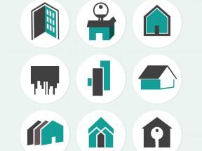 9款创意房屋贴纸图标素材下载