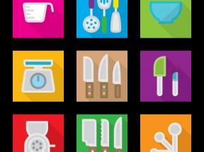 方形的厨房工具图标大全AI素材