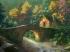 森林 桥梁 房屋 河流风景绘画4k壁纸