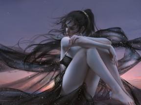 天空小姐姐 黑色唯美裙子 厚涂画风 4k动漫壁纸