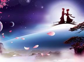 浪漫唯美七夕鹊桥相会 迎客松7k壁纸图片