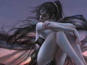 晚上 天空 女孩 黑色唯美长裙3440x1440带鱼屏壁纸