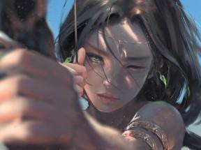 美女 绿色眼睛 弓箭 厚涂画 4k动漫壁纸