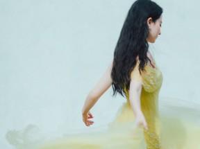 刘亦菲 侧面 黄色礼服裙子3k面屏手机壁纸