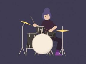 卡通的架子鼓鼓手动画特效