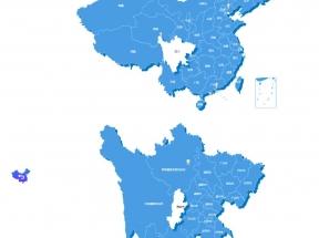 中国地图和省份地图位置信息标注实例